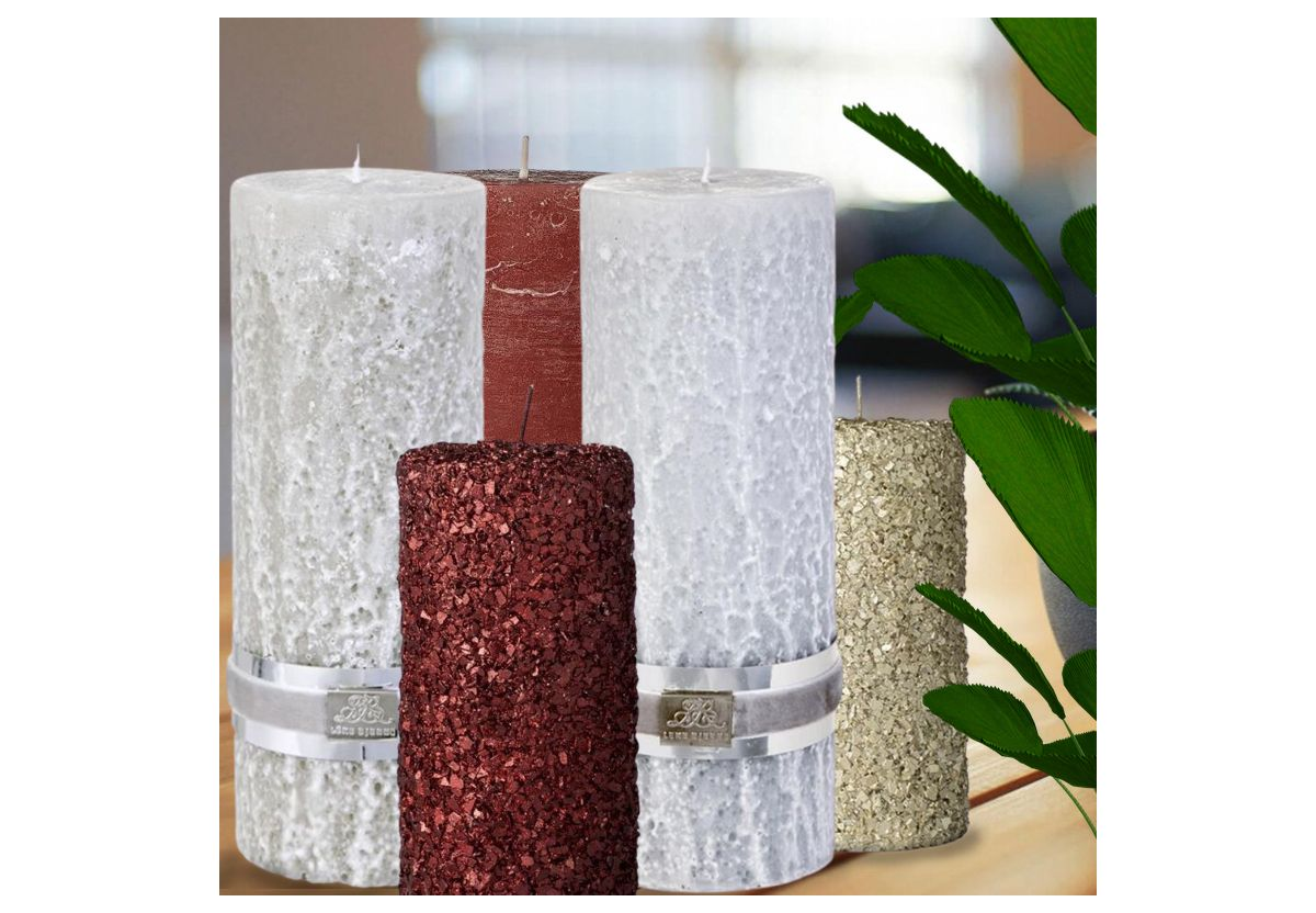 BOUGIE CYLINDRIQUE RUSTIC ROUGE FONCE
