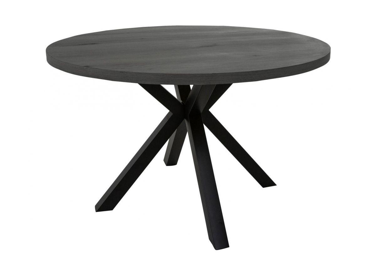 TABLE MAISON RONDE PLACAGE GRIS FONCE