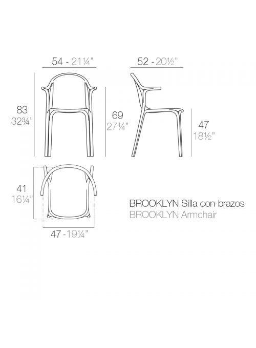 CHAISE BROOKLYN AVEC ACCOUDOIRS