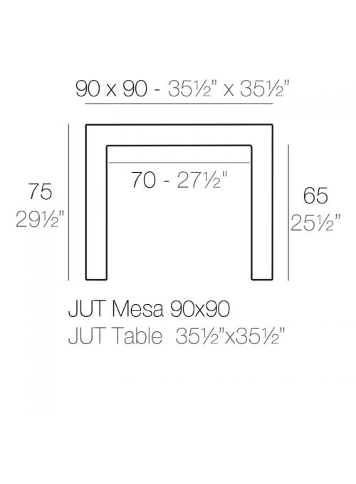 TABLE JUT 90X90