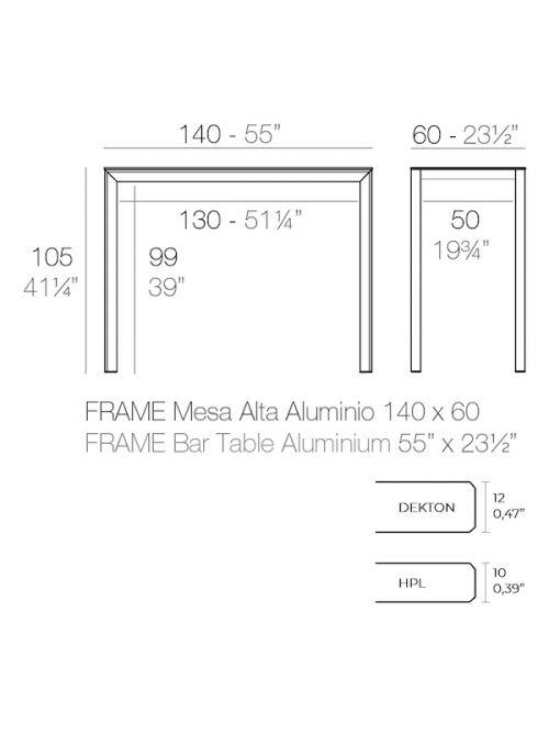 TABLE HAUTE FRAME ALUMINIUM