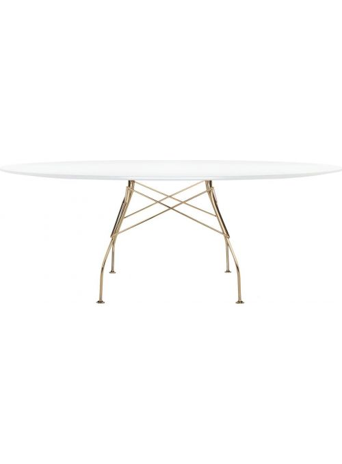 TABLE GLOSSY BLANC ET DORE