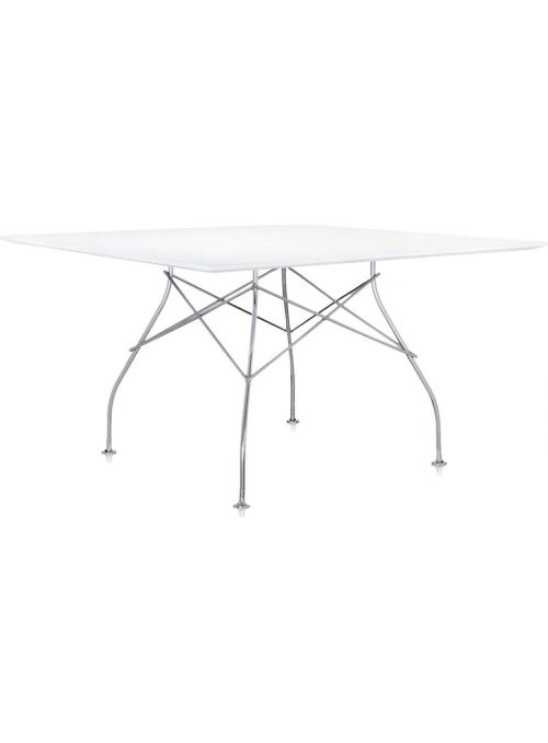 TABLE GLOSSY CHROME ET BLANC