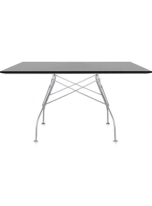 TABLE GLOSSY CHROME ET NOIR