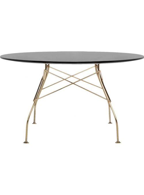 TABLE GLOSSY NOIR ET DORE