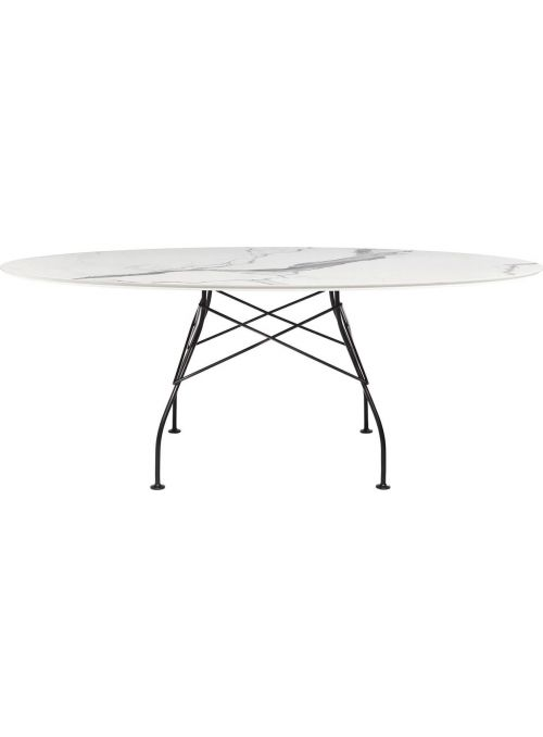 TABLE GLOSSY MARBLE BLANC