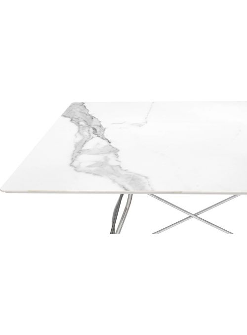 TABLE GLOSSY MARBLE BLANC...