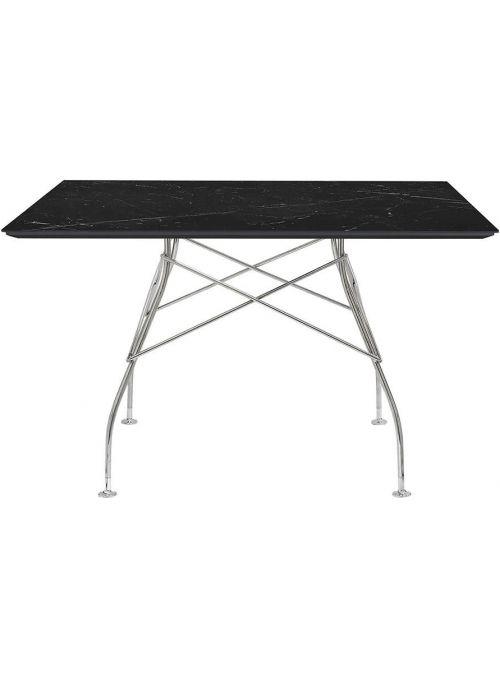 TABLE GLOSSY MARBLE NOIR ET...