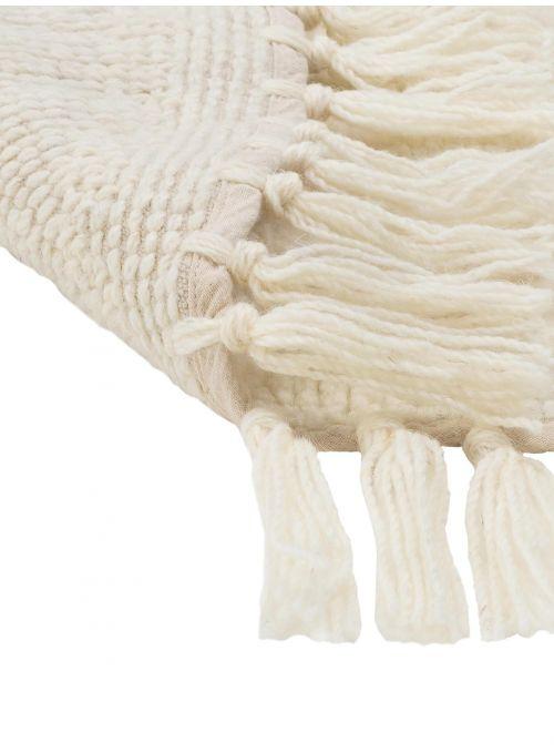 Tapis pure laine rond crème...