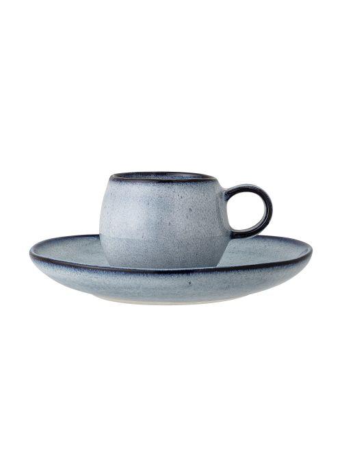 Tasse à espresso artisanale avec sous-tasse Sandrine - Tons bleus
