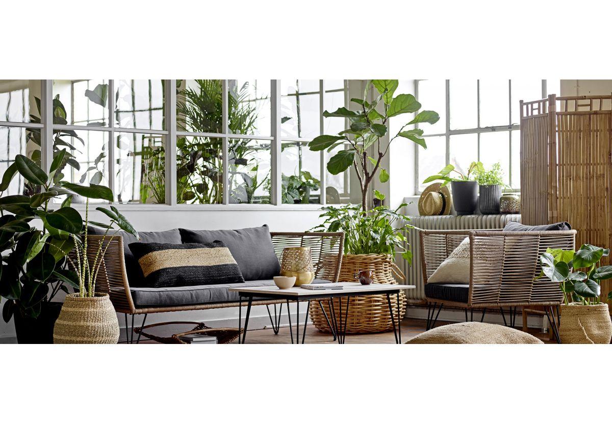 Fauteuil lounge de jardin plastique tressé Mundo - beige gris rayé et noir